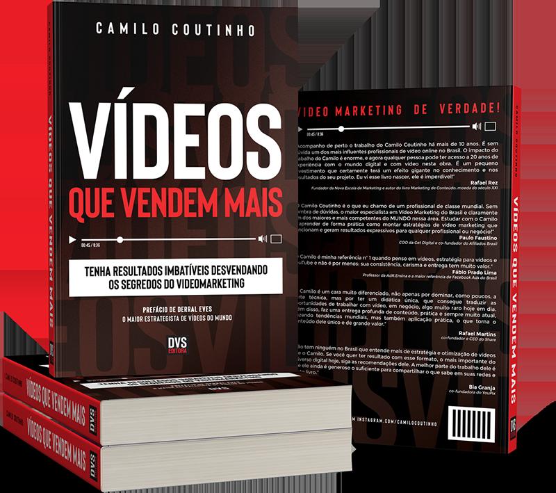 Livro do Camilo Coutinho em uma pilha de 2 livros deitados e 1 livro em pé na pilha